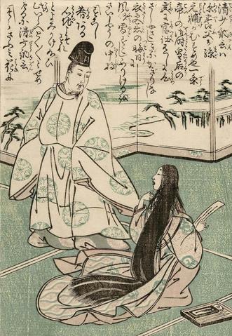 Grabado que retrata a Sei Shonagon