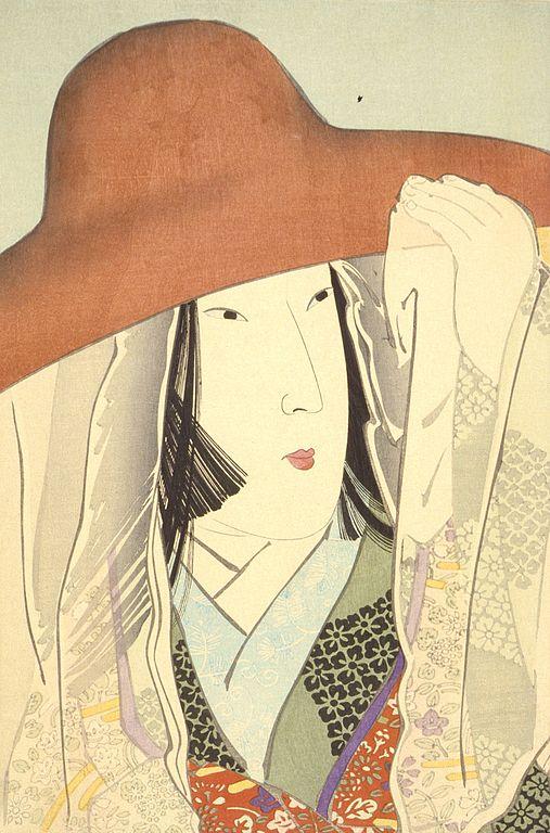 Grabado en madera que retrata a Sei Shonagon