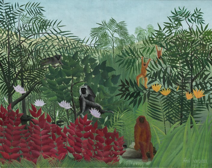 Trooppinen metsä apinoilla, maalaus