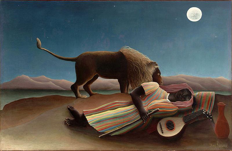 Nukkuva mustalainen, maalaus