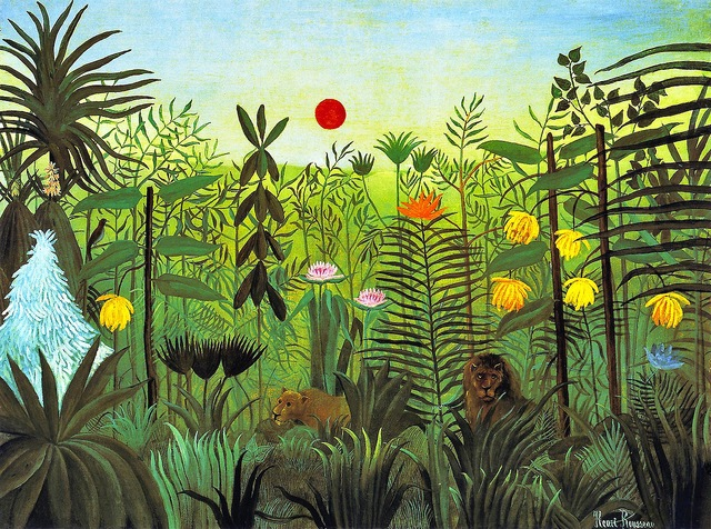 Eksoottinen maisema leijonilla, maalaus