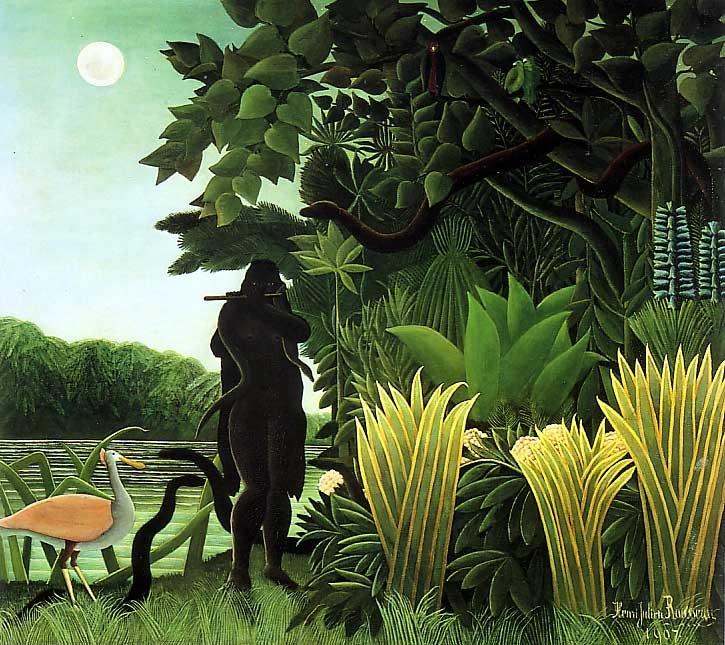 Käärme hurmaaja, maalaus