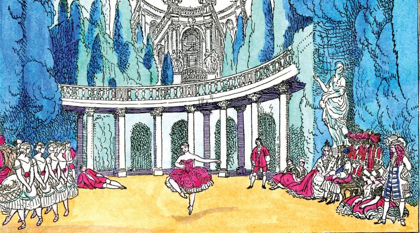 Scenografiese skets van The Ballets Russes de Schwab