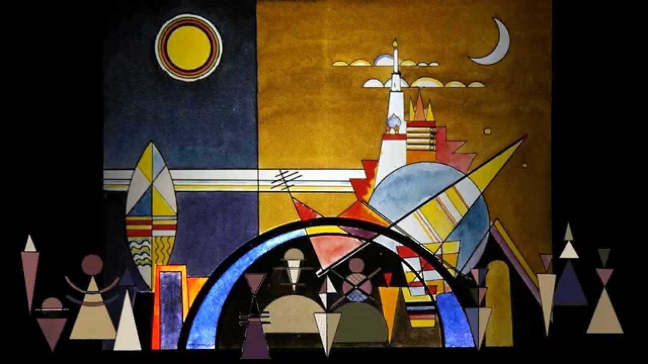 Schilderijen uit een tentoonstelling met het landschap van Kandinsky