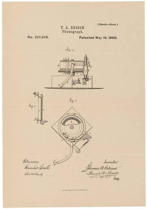 Disegno brevetto fonografo Edison