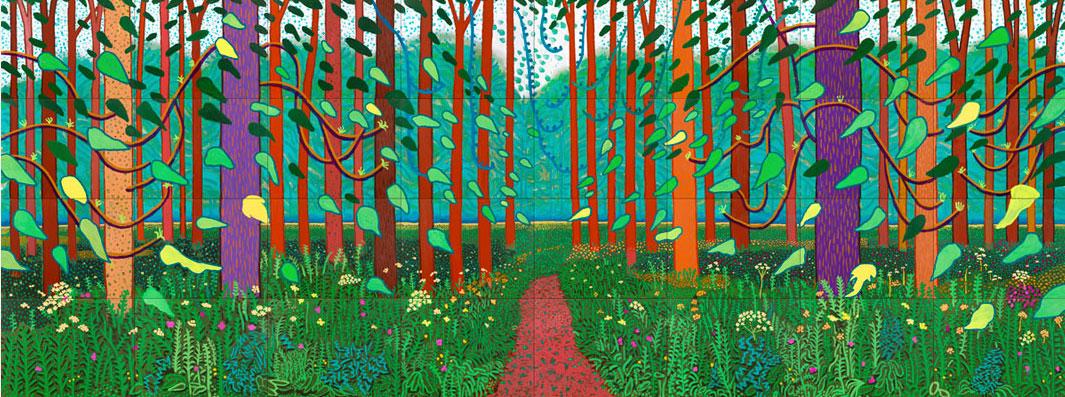Aankomst van de lente in Woldgate Yorkshire, David Hockney