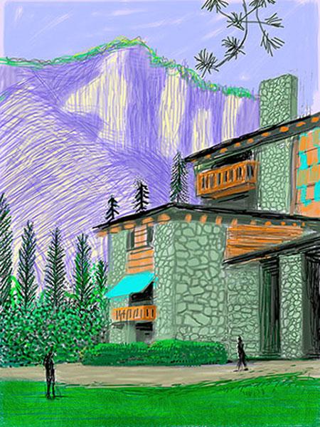 Uit de Yorkshire Suite, getekend op Ipad van David Hockney