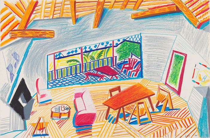 Interieur van de woonkamer met terras, David Hockney