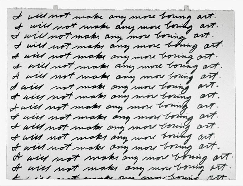 Escritura de I will not make any more boring art, John Baldessari